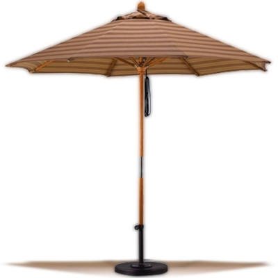 Galtech 11-Foot Wood Market Umbrella - Quad Pulley